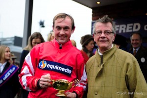 Nico de Boinville and Mark celebrate the Cheltenham Gold Cup win